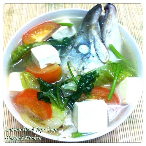 Salmon head tofu soup marina 39 s kitchen for Fish head soup recipe