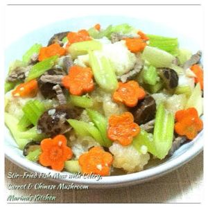 Stir-Fried Fish Maw with Celery, Carrot & Chinese Mushroom