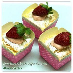 Strawberry Hokkaido Chiffon Cup Cakes