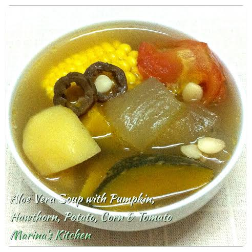 Aloe Vera Soup with Pumpkin, Hawthorn, Potato, Corn & Tomato