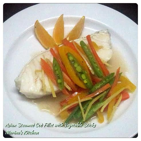 Asian Steamed Cod Fillet with Vegetable Sticks
