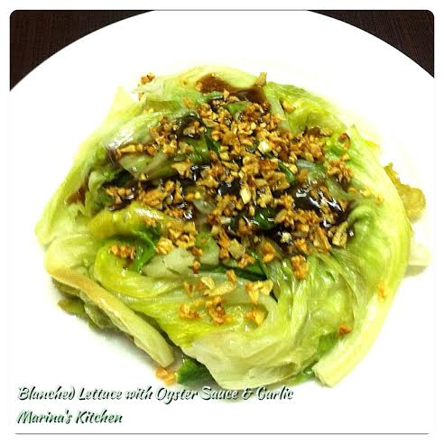 Blached Lettuce with Oyster Sauce & Garlic