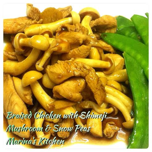 Braised Chicken with Shimeji Mushroom & Snow Peas