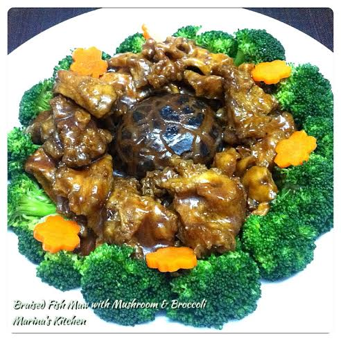 Braised Fish Maw with Mushroom & Broccoli