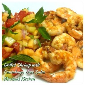 Grilled Shrimp with Cantaloupe Lime Salsa