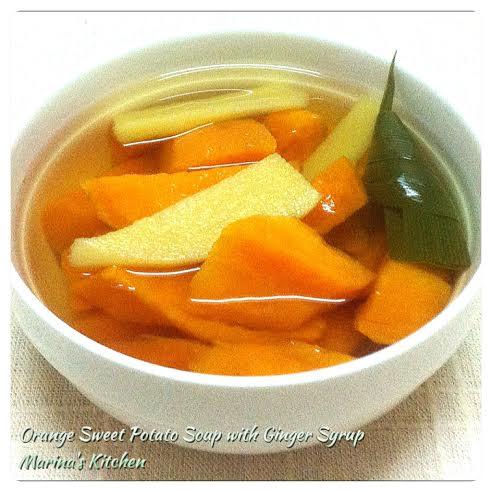 Orange Sweet Potato Soup with Ginger Syrup