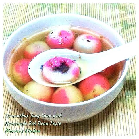 Osmanthus Tang Yuan with Homemade Red Bean Paste