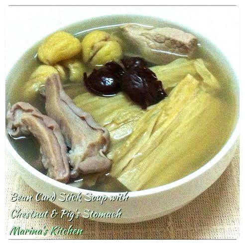 Bean Curd Stick Soup with Chestnut & Pig's Stomach