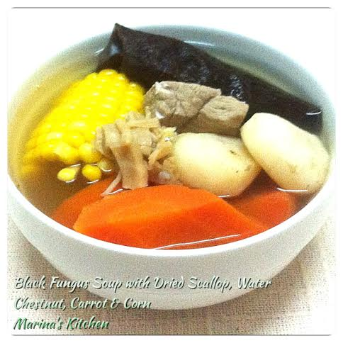 Black Fungus Soup with Dried Scallop, Water Chestnut, Carrot & Corn