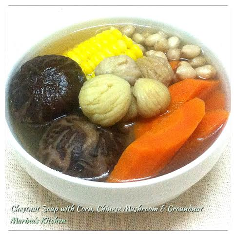 Chestnut Soup with Corn, Chinese Mushroom & Groundnut