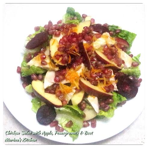 Chicken Salad with Apple, Pomegranate & Beet
