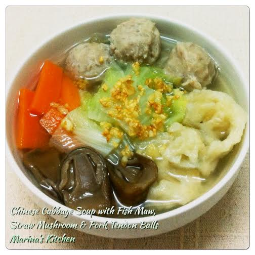 Chinese Cabbage Soup with Fish Maw, Straw Mushroom & Pork Tendon Balls