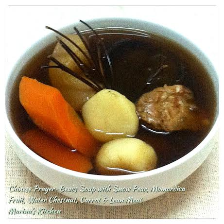 Chinese Prayer-Beads Soup with Snow Pear, Momordica Fruit, Water Chestnut, Carrot & Lean Meat