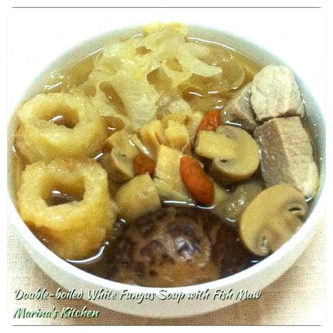 Double-boiled White Fungus Soup with Fish Maw