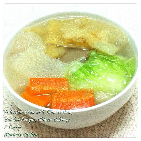 Fish Maw Soup with Chinese Ham, Bamboo Fungus, Chinese Cabbage & Carrot