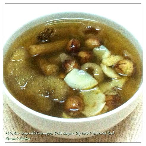 Fish Maw Soup with Codonopsis, Dried Longan, Lily Bulb & Red Lotus Seed