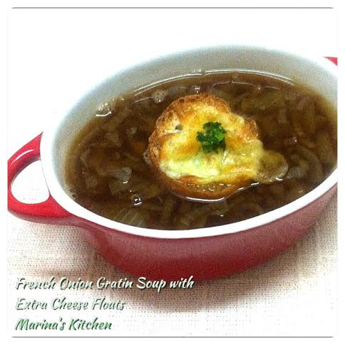 French Onion Gratin Soup with Extra Cheese Floats