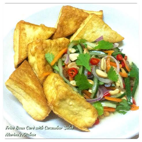Fried Bean Curd with Cucumber Salad