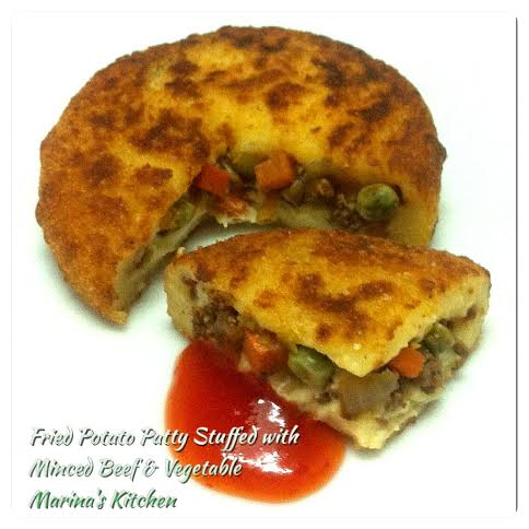 Fried Potato Patty Stuffed with Minced Beef & Vegetable