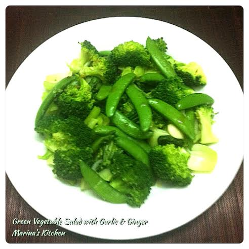 Green Vegetable Salad with Garlic & Ginger