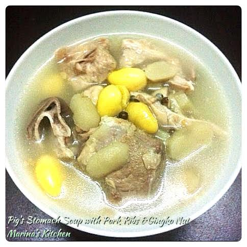 Pig's Stomach Soup with Pork Ribs & Gingko Nut