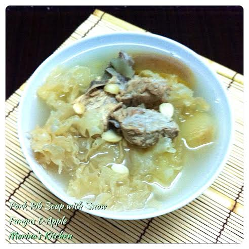 Pork Rib Soup with Snow Fungus & Apple