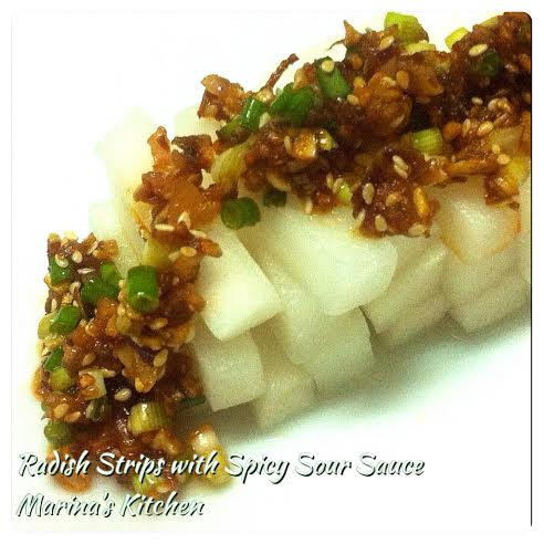 Radish Strips with Spicy Sour Sauce