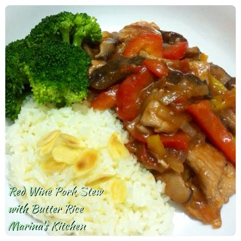Red Wine Pork Stew with Butter Rice
