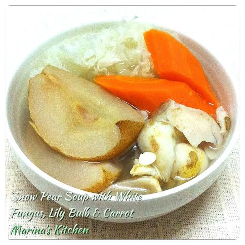 Snow Pear Soup with White Fungus, Lily Bulb & Carrot