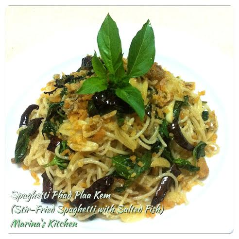 Stir-Fried Spaghetti with Salted Fish