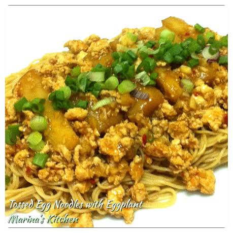 Tossed Egg Noodles with Eggplant