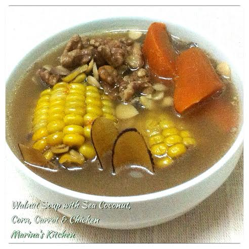 Walnut Soup with Sea Coconut, Corn, Carrot & Chicken