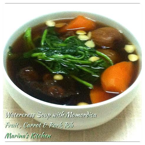 Watercress Soup with Momordica Fruit, Carrot & Pork Rib