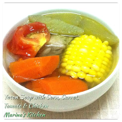 Yacon Soup with Corn, Carrot, Tomato & Chicken