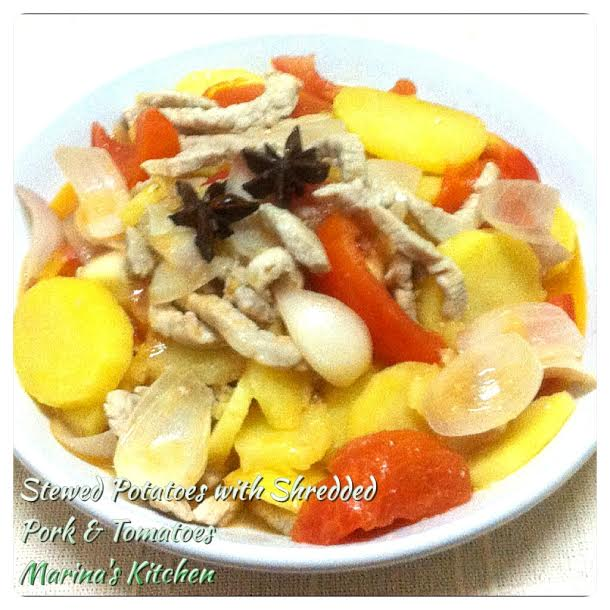 Stewed Potatoes with Shredded Pork & Tomatoes