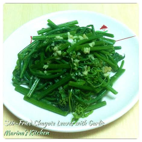 Stir-Fried Chayote Leaves with Garlic