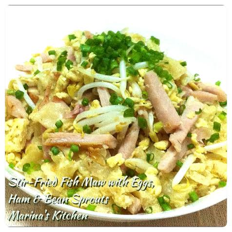 Stir-Fried Fish Maw with Eggs, Ham & Bean Sprouts