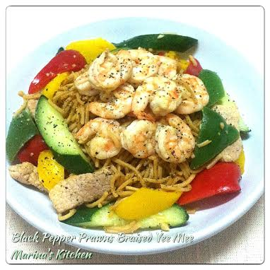 Black Pepper Prawns Braised Yee Mee