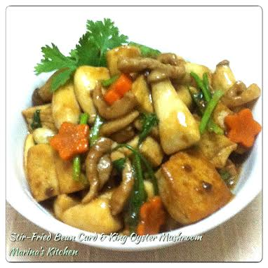 Stir-Fried Bean Curd with King Oyster Mushroom