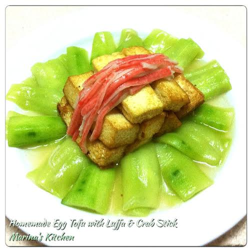 Homemade Egg Tofu with Luffa & Crab Stick