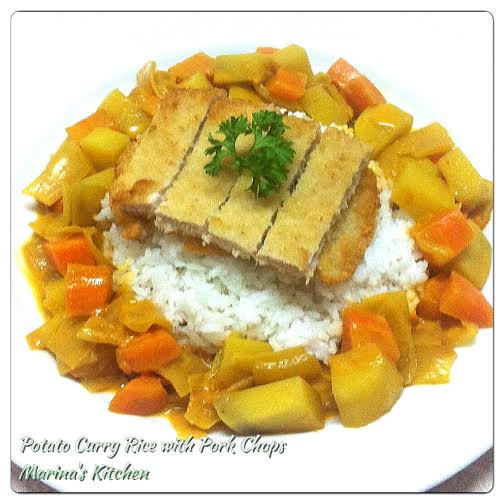 Potato Curry Rice with Pork Chops
