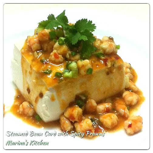 Steamed Bean Curd with Spicy Prawns