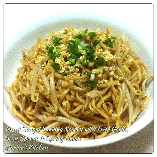 Tossed Sungai Lembing Noodles with Fried Garlic, Bean Sprout & Spring Onion