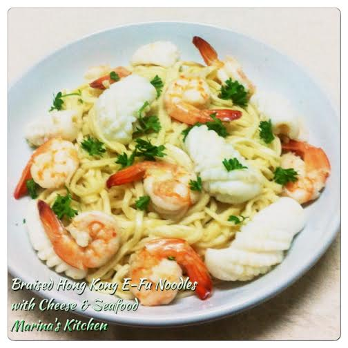 Braised Hong Kong E-Fu Noodles with Cheese & Seafood