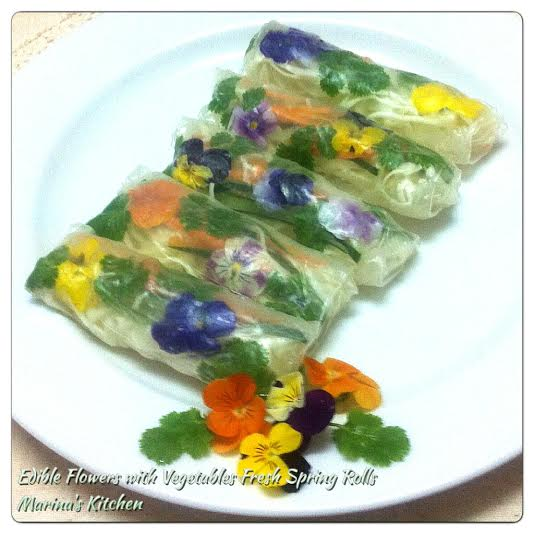 Edible Flowers with Vegetables Fresh Spring Rolls