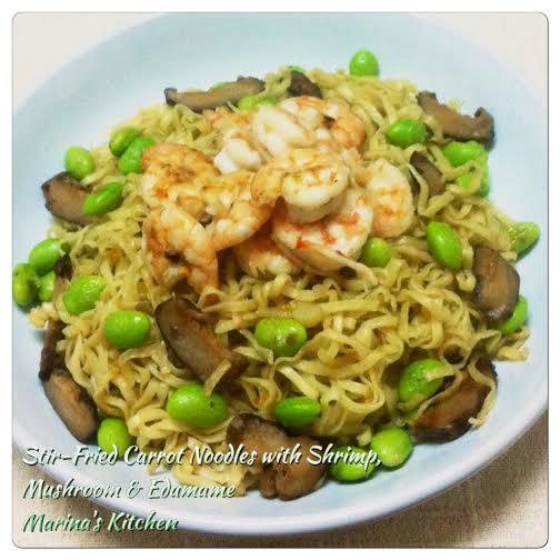 Stir-Fried Carrot Noodles with Shrimp, Mushroom & Edamame