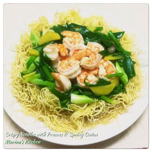 Crispy Noodles with Prawns & Spring Onion