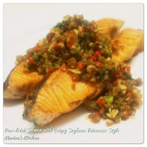 Pan-Fried Salmon with Crispy Soybean Taiwanese Style