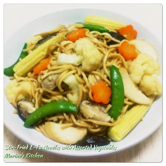 Stir-Fried E-Fu Noodles with Assorted Vegetables