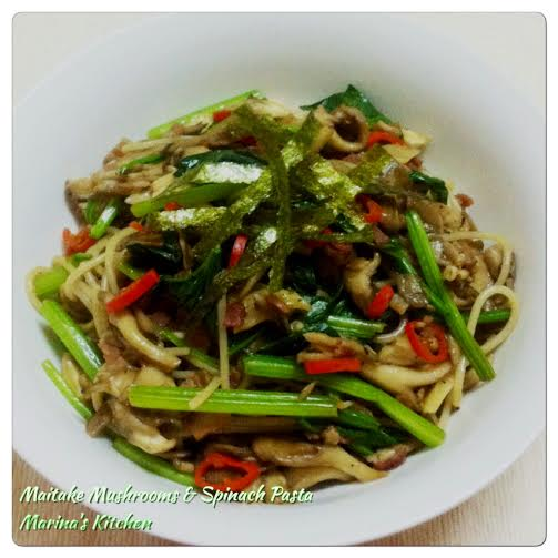 Maitake Mushrooms & Spinach Pasta 1